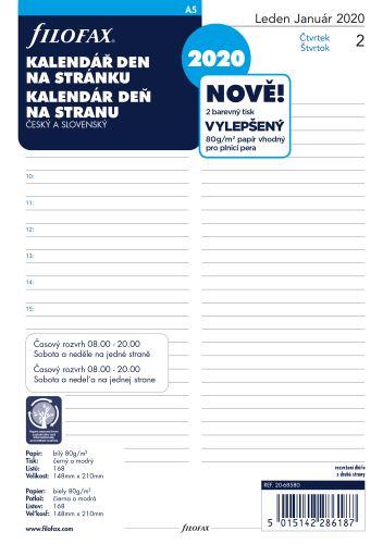 Filofax kalendář A5 2019 den na 1 stranu český