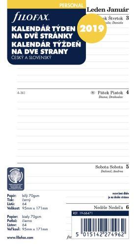 Kalendář Filofax A6 2019 týden na dvě strany linky český